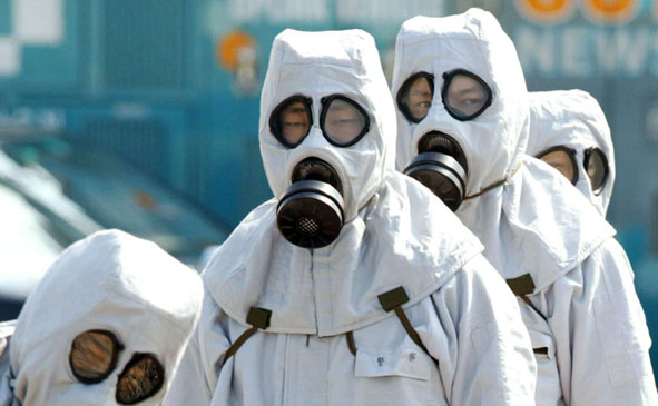 Members of the Japanese National Police Agency's Nuclear, Biological, Chemical Terrorism Investigative Unit