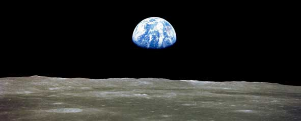 Earthrise from the moon.