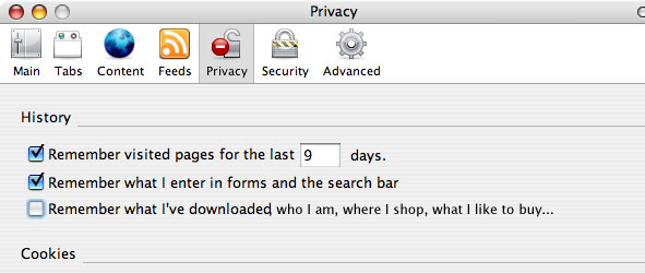 Privacy window in Firefox browser