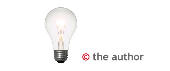 Lightbulb with text: copyright the author