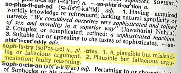 Dictionary page with sophistry highlighted