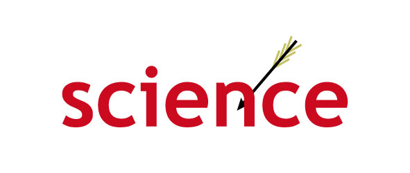 The word science with an arrow shot through it.
