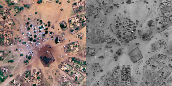 Satellite pictures taken before and after an attack on the village of Angabo in Darfur.