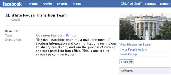 White House transition team facebook page