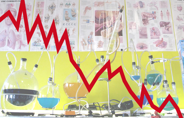 Jagged stock price line over science lab beakers