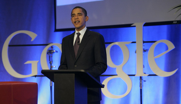 Obama talks about science and technology policy at Google headquarters in Mountain View, California last year.