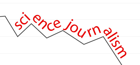 text reading science journalism following a jagged stock market index line