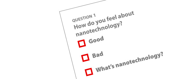 surbey reading How do you feel about nanotechnology with choices: Good, Bad, What's nanotechnology?