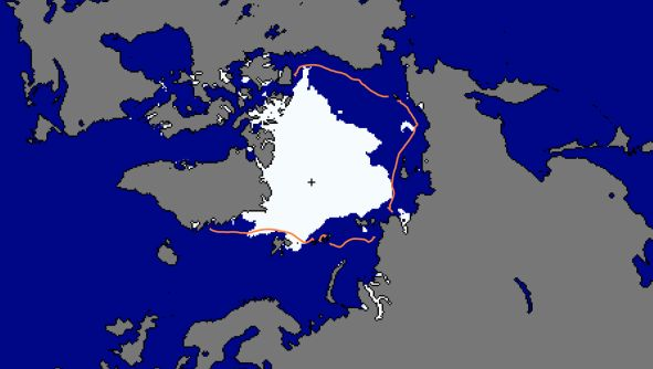 map showing extend of artic sea ice melt