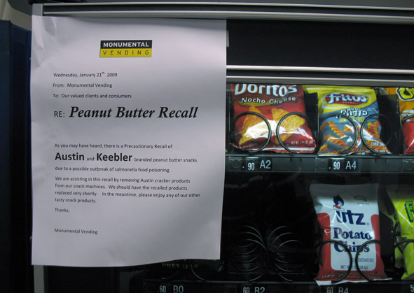 vending machine with peanut butter recall notice on it