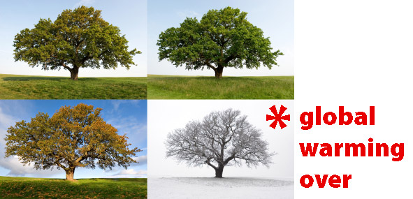 tree in fours seasons with asterisk next to winter and text: global warming over