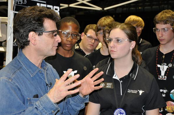 US FIRST founder Dean Kamen with a group of high school students.