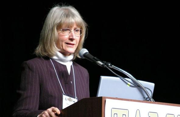 Eugenie Scott speaking at a lecturn