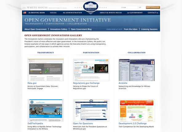 screen shot of White House Open Government Initiative innovations gallery
