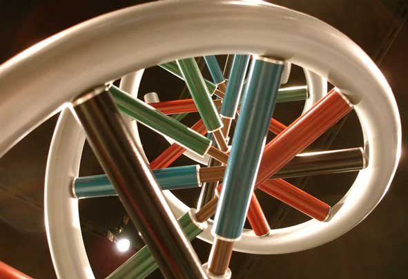 view looking up into sculture of a DNA double helix