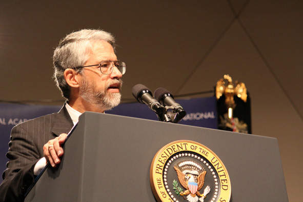 John Holdren speaking at the National Academies of Science