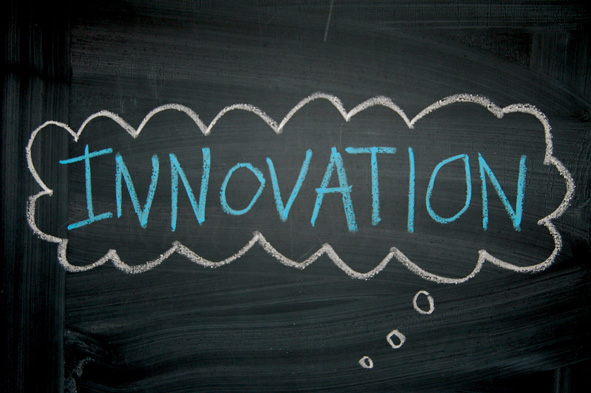 chalkboard with the word INNOVATION on it
