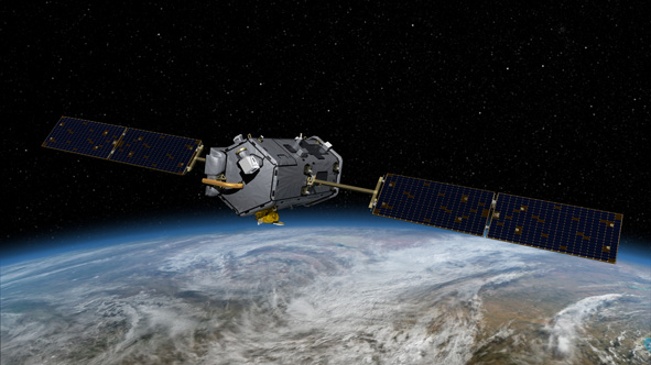 artist's conception of the Orbiting Carbon Observatory satellite