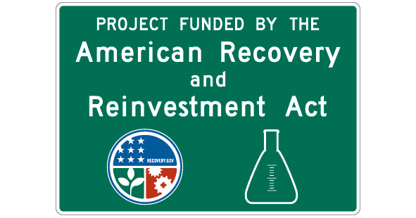 green sign with ARRA logo and beaker