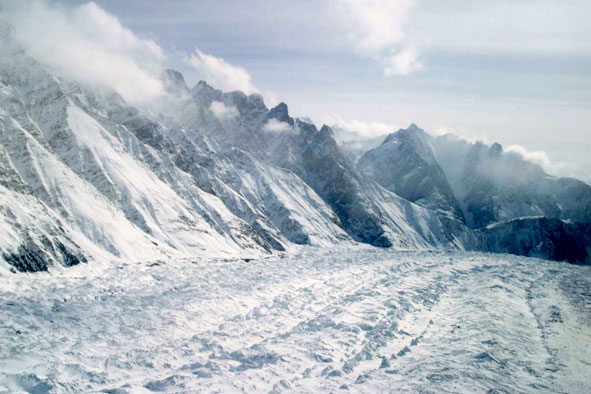 This  Feb. 1, 2005 file photo shows an aerial view of the Siachen Glacier, which traverses the Himalayan region dividing India and Pakistan, about 750 kilometers (469 miles) northwest of Jammu, India.