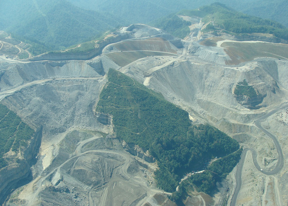 West Virginia mountaintop removal mining.
