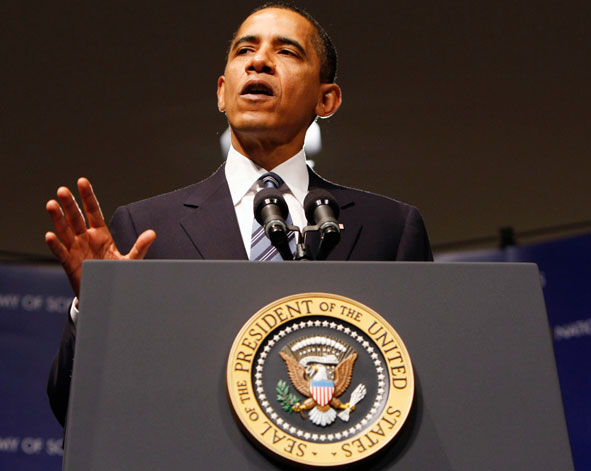 President Obama addresses the National Academy of Sciences in April, 2009.