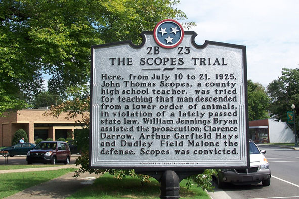 The Scopes trial historical marker in front of the Rhea County Courthouse, Dayton, Tennessee.