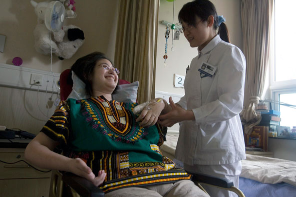 Patient receiving treatment at  receiving treatment at the Tiantan Puhua Hospital in Beijing, China