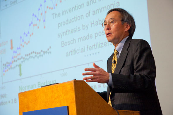 U.S. Secretary of Energy Steven Chu, former director of the Lawrence Berkeley National Lab in California, talks about the future of energy research at a visit to to the Lab in October 2009.