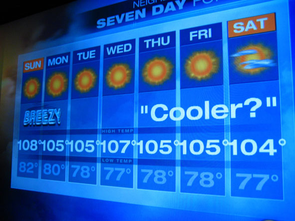 TV screen with daily temps for Las Vegas, all above 100 degrees