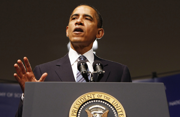 President Obama delivers remarks at the National Academy of Sciences